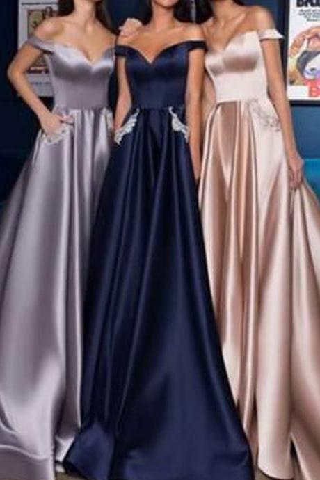 Cheap Prom Dresses, Off the Shoulder Prom Dresses, Satin Prom Dresses, Simple Prom Dresses, Off the Shoulder Evening Dresses 2019 Evening Dresses, A Line Evening Dresses, Arabic Prom Dresses, New Prom Dresses