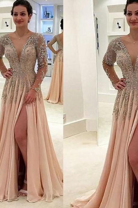 Champagne Prom Dresses, Crystal Prom Dresses, Beaded Prom Dresses, Beaded Evening Gowns, A Line Evening Dresses, Champagne Formal Dresses, New Arrival Evening Gowns, Sexy Party Dresses, Long Sleeve Prom Dresses, Evening Gowns, 2019 Evening Dress