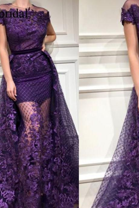 purple prom dresses, lace prom dresses, lace evening dresses, a line evening gowns, arabic evening dress, lace party dresses, flowers prom dress, prom dresses, 2019 prom dresses, a line evening dresses, detachable train prom dresses