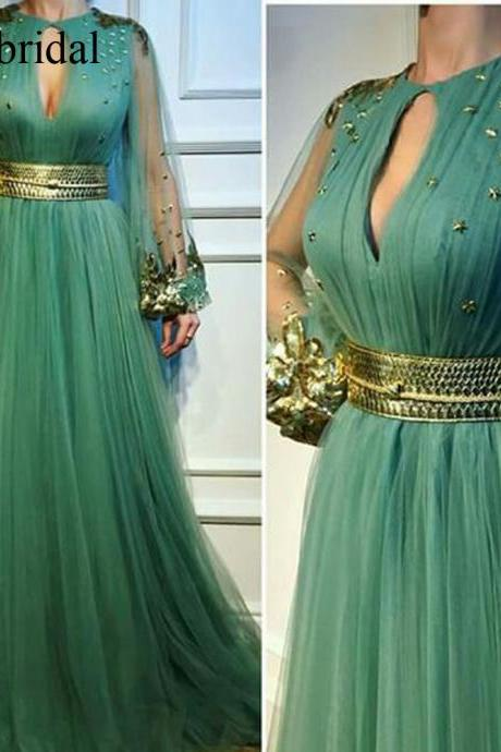 green prom dresses, tulle prom dresses, a line evening dresses, tulle party dresses, a line prom dresses, beaded evening gowns, cheap formal dresses, 2019 evening dresses, pleats formal dress, arabic evening dress