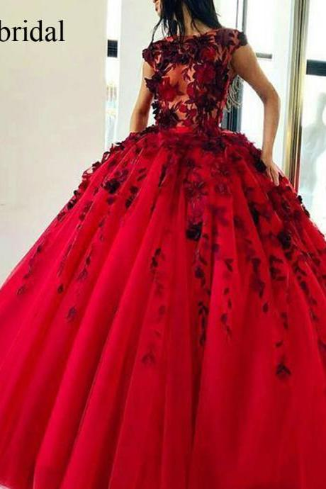 Ball Gown Prom Dresses, Flowers Prom Dresses, Red Prom Dresses, Flowers Evening Gowns, 2019 Prom Dresses, Red Evening Dresses, 2019 Evening Gowns, Tulle Evening Dresses, Lace Evening Dresses