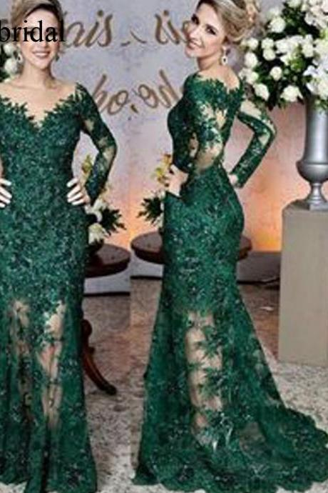 green prom dresses, lace prom dresses, mermaid evening dresses, long sleeve evening gowns, cheap party dresses, vestidos de fiesta, lace evening dresses, long evening gowns, 2019 evening dress, elegant evening dresses