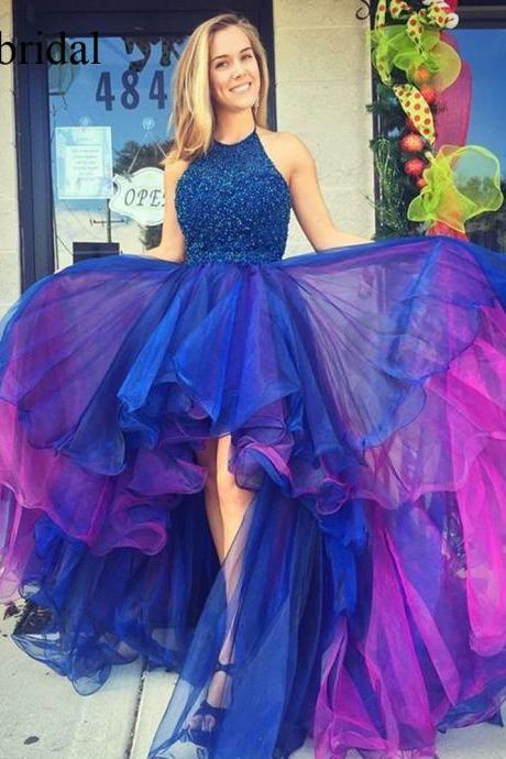 organza prom dresses, purple evening dresses, ruffle evening dress, high front and low back prom dresses, beaded evening dresses, beaded prom dresses, a line evening dress, beaded prom dresses, cheap evening dresses gowns