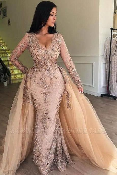 Champagne Prom Dresses, Detachable Train Prom Dresses, Lace Prom Dresses, Beaded Evening Dresses, Lace Prom Dresses, Champagne Evening Dresses, Long Sleeve Evening Dresses, Champagne Prom Dresses, Detachable Train Evening Gowns