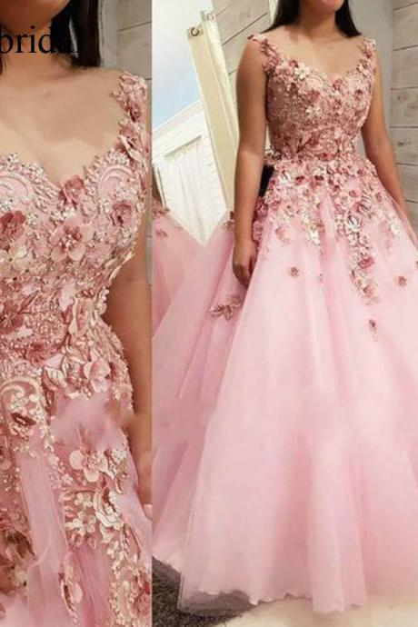 Lace Prom Dresses, Pink Prom Dresses, Ball Gown Prom Dresses, Hand Made Flowers Evening Dresses, Tulle Prom Dresses, Pink Evening Dresses, Ball Gown Prom Dresses, Lace Evening Gowns, Arabic Formal Dresses, Ball Gown Prom Dresses