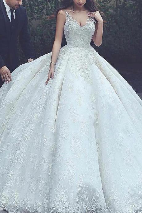 Ball Gown Wedding Dresses, Lace Bridal Dresses, V Neck Wedding Dresses, Ball Gown Bridal Dresses, Puffy Wedding Dresses, Lace Wedding Dress, Arabic Bridal Dresses, 2019 Wedding Dresses, Vestidos de Noiva