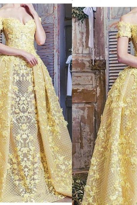 Yellow Prom Dresses, Lace Evening Dresses, Flowers Evening Gowns, Arabic Party Dresses, Vestidos de fiesta, 2019 Evening Dresses, Detachable Train Prom Dresses, Yellow Formal Dresses