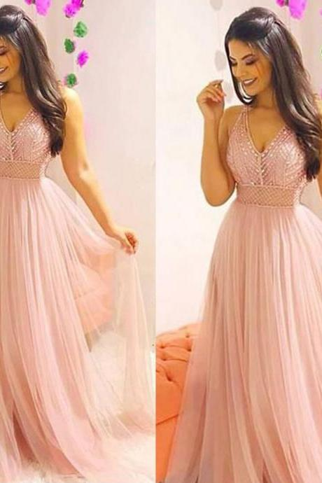 Pink Prom Dresses, Beaded Prom Dresses, V Neck Prom Dresses, Tulle Prom Dresses, Pink Evening Dresses, Beading Prom Dresses, Tulle Formal Dress, Blush Prom Dresses, 2019 Prom Dresses, Evening Dresses with Beading, 2019 Formal Dresses