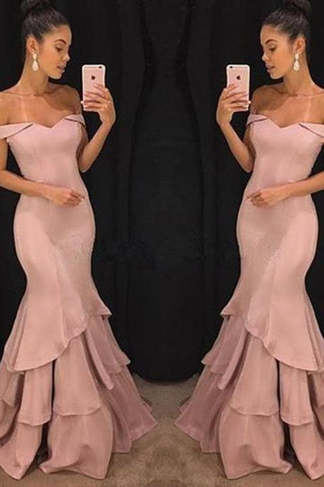 mermaid prom dresses, satin prom dresses, pink prom dresses, mermaid evening dresses, satin evening gowns, ruffle prom dreses, off the shoulder prom dresses, 2019 evening dresses, mermaid evening gowns, pink party dresses, women special dresses
