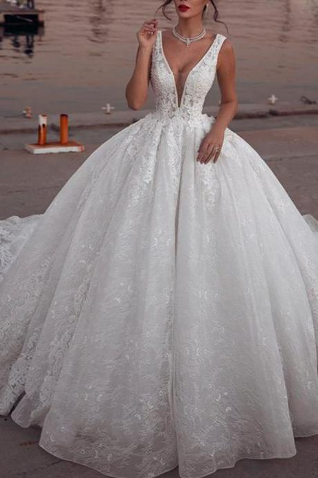 lace wedding dresses, deep v neck wedding dresses, ball gown wedding dresses, puffy bridal dresses, court train wedding dresses, 2019 wedding dresses, lace bridal dresses, cheap bridal dresses, fashion wedding dresses, arabic wedding dresses, 2019 vestidos de noiva