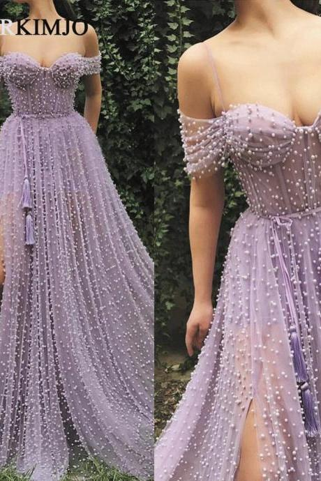 Lavender Prom Dresses 2019 Off the Shoulder Peal Beaded Elegant Prom Gown with Slit