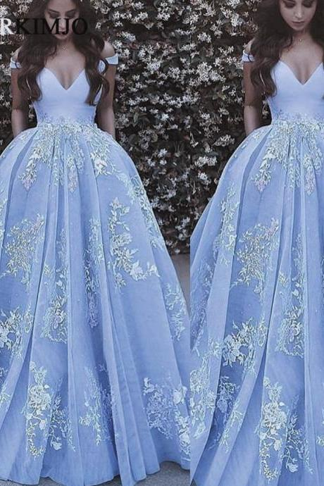 Blue Lace Applique Prom Dresses Ball Gown Long 2019 Off the Shoulder Elegant Tulle Prom Gown