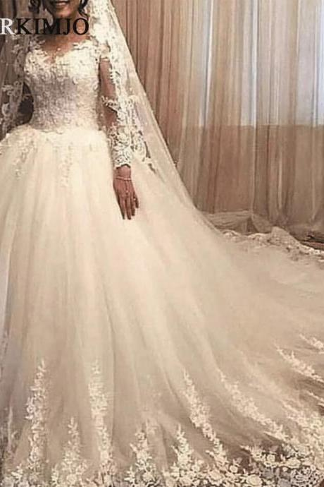 Long Sleeve Lace Appliqué Wedding Dresses 2019 Elegant Boho Ivory Elegant Bridal Dress Vestido De Novia