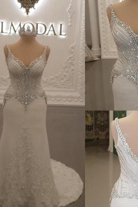 luxury wedding dresses 2019 sweetheart neckline beaded crystal sequins mermaid hand made flowers crystal bridal dresses vestidos de noiva
