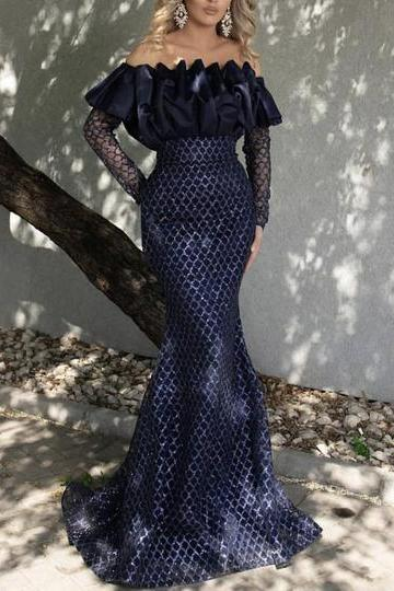 mermaid prom dresses 2019 off the shoulder ruffle organza long sleeve sequins sparkly navy blue evening dresses gowns vestidos de fiesta