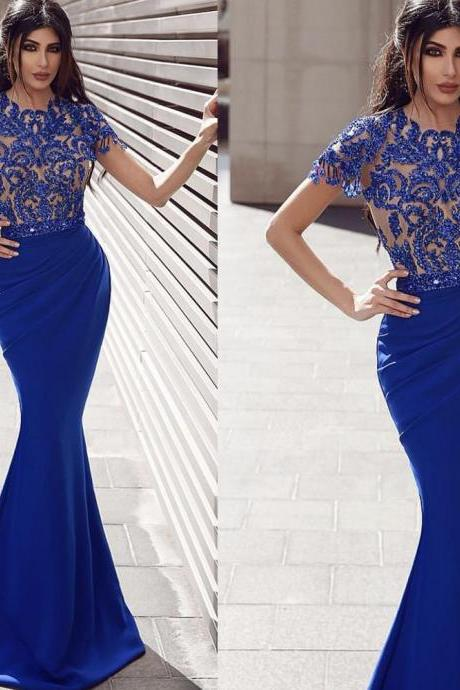 mermaid prom dresses 2019 crew neckline sequins lace beaded evening dresses mermaid royal blue evening gowns