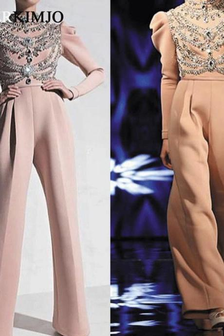 Dusty Pink Beaded Jumpsuits for Weddings 2019 Long Sleeve Crystals Puffy Sleeve Elegant Evening Pants