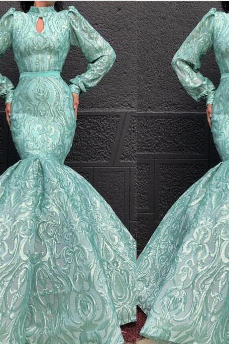 mermaid prom dresses 2019 long sleeve keyhole lace evening dresses green party dresses formal dresses