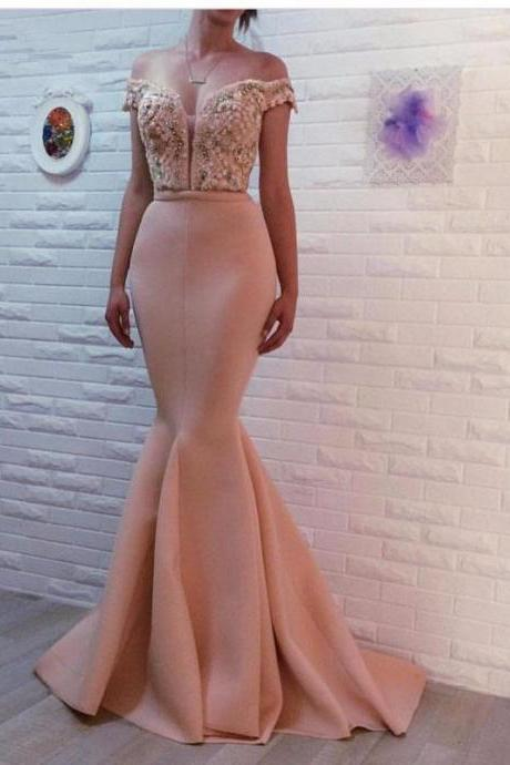 2019 Dusty Pink Mermaid Evening Dresses Long Beaded Peals Off the Shoulder Elegant Formal Dress