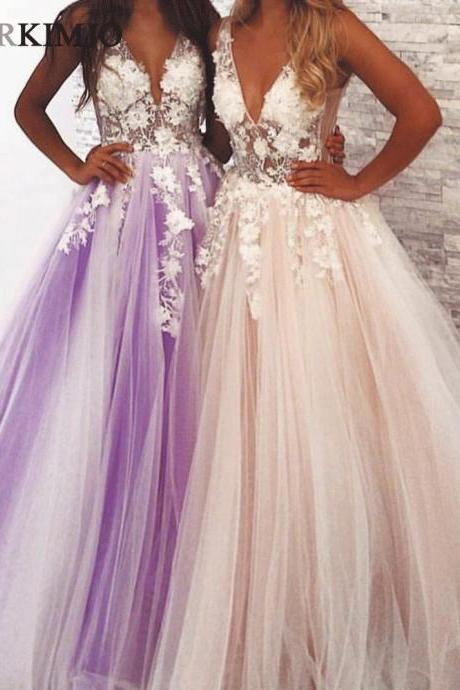 Deep V Neck 3D Flowers Prom Dresses 2019 Elegant A Line Tulle Sexy Purple Ball Gown Vestido Longo