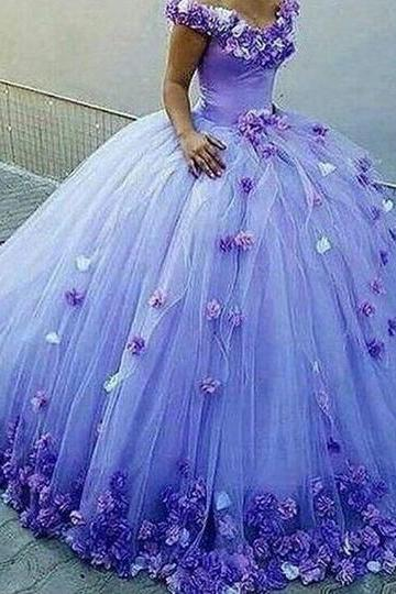 ball gown prom dresses off the shoulder v neck hand made flowers 3d flowers lavander evening dresses gowns