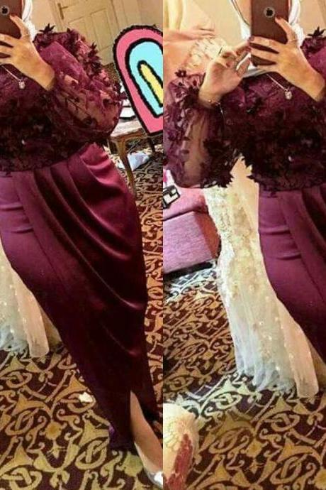 burgundy prom dresses 2019 lace appliques flowers long sleeve side slit sexy evening dresses gowns