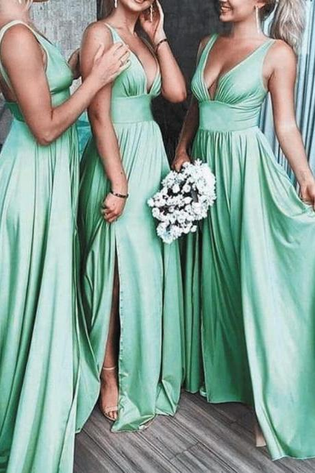 Mint Green Bridesmaid Dresses 2019 V Neck Cheap A Line Long Satin Wedding Guest Dress