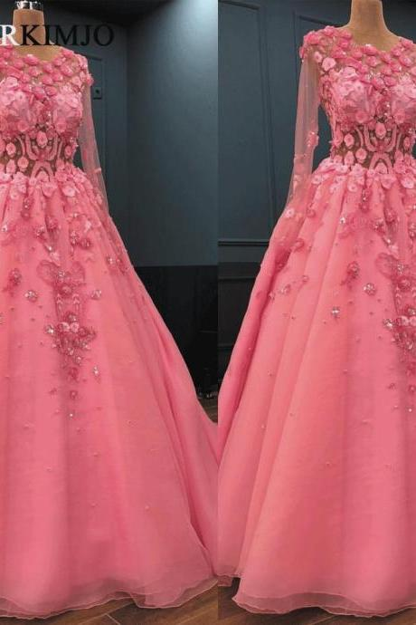 Pink 3D Flowers Prom Dresses Long Sleeve Lace Applique Crystals Ball Gown Prom Dress Vestido Longo