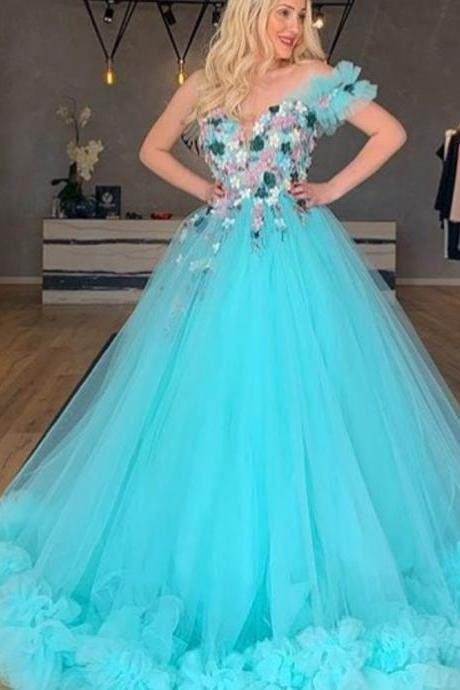 one shoulder prom dresses blue 2019 blue ruffle one shoulder hand made flowers tulle ball gown evening dresses