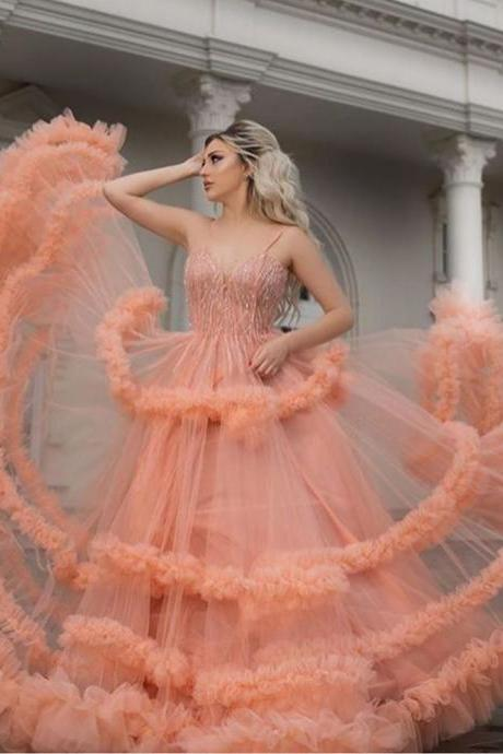 blush prom dresses 2019 sweetheart neckline beading sequins a line ruffle tulle floor length evening dresses gowns arabic