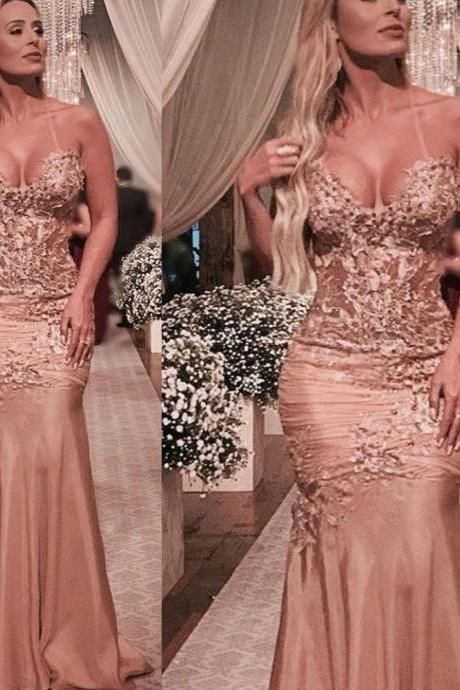 champagne prom dresses 2019 sweetheart neckline lace appliques pearls flowers pleats mermaid floor length evening dresses gowns