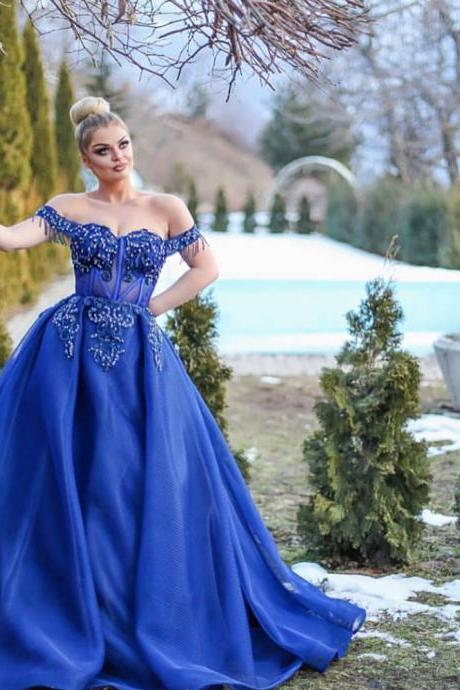 royal blue prom dresses 2019 off the shoulder lace appliques pearls beading detachable train tulle beaded evening dresses