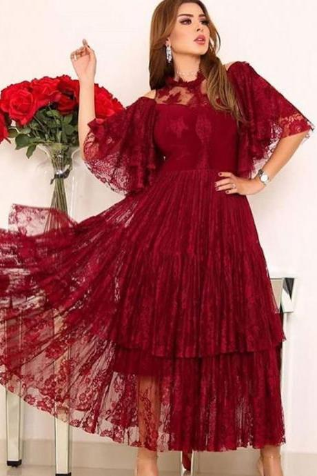 lace evening dresses crew neckline half sleeve tea length red evening gowns prom dresses arabic party dresses