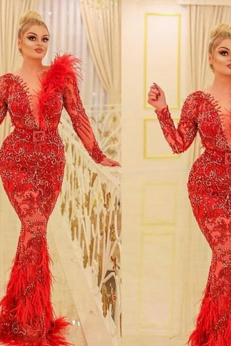 red prom dresses 2019 long sleeve deep v neck feather pearls lace mermaid party evening dresses