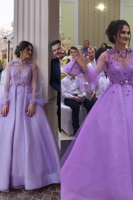 purple prom dresses 2019 long sleeve crystal beading hand made flowers long sleeve tulle evening dresses vestidos de fiesta
