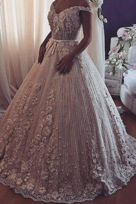 2019 wedding dresses v neck off the shoulder lace appliques beading beaded crystal puffy bridal dresses vestidos de noiva
