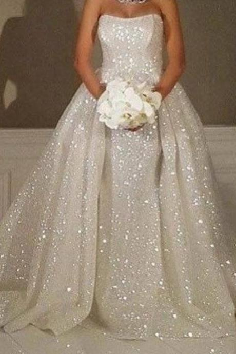 ball gown wedding dresses detachable train bling bling sequins bridal dresses arabic vestidos de noiva wedding gowns
