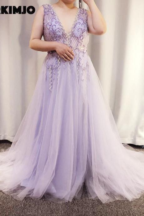 real picture prom dresses 2019 crystal beaded sequins a line side slit sleeveless tulle floor length evening dresses gowns