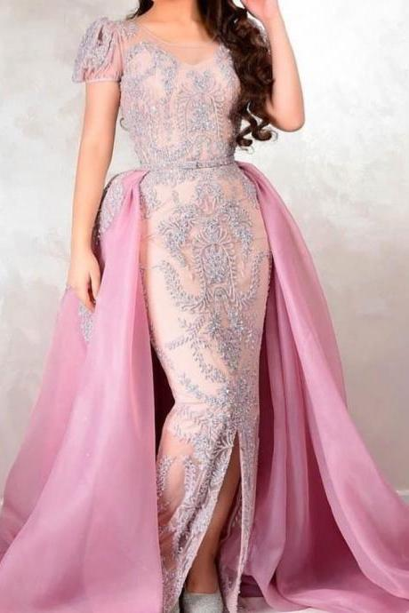 crystal prom dresses detachable train 2019 crew neckline beaded sequins pink evening dresses arabic party dresses