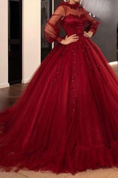 red prom dresses 2019 long sleeve high neck long sleeve crew neckline lace appliques tulle floor length long evening gowns