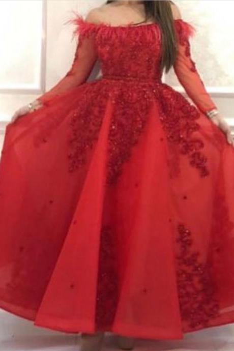 red prom dresses 2019 long sleeve feather a line lace appliques feather evening dresses arabic formal dresses