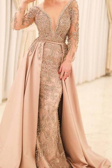 champagne prom dresses 2019 long sleeve beading sequins detachable train crystal beading evening dresses arabic