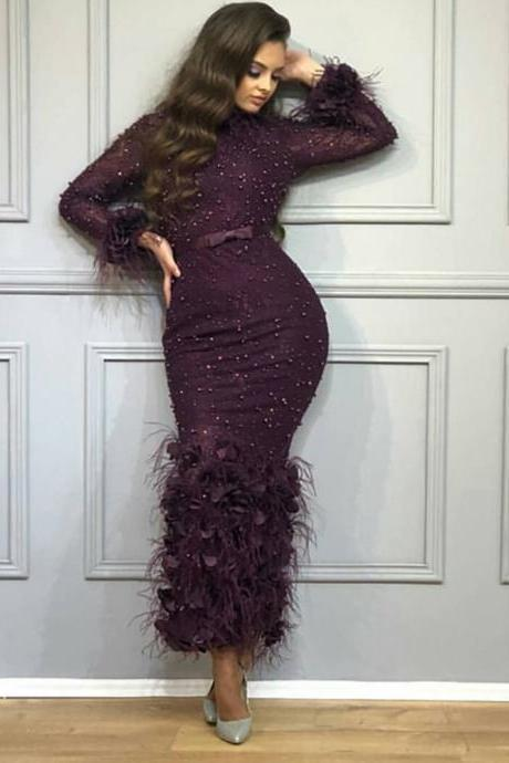burgundy prom dresses 2019 high neck beading sequins feather sheath ankle length sheath long sleeve evening dresses arabic