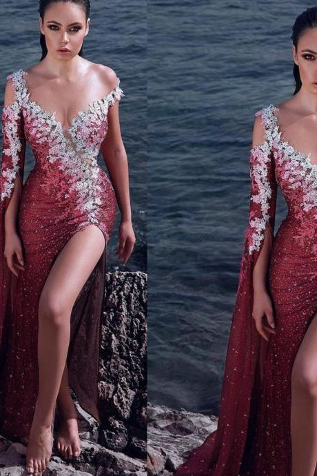 burgundy prom dresses sequins lace appliques beading long sleeve mermaid side slit red evening dresses gowns vestidos