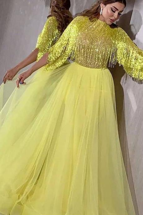 yellow prom dresses, orange prom dresses, beaded prom dresses, tassel prom dresses, tulle prom dresses, a line prom dresses, tassel evening dresses, yellow evening dresses, vestidos de gala, prom dresses 2019
