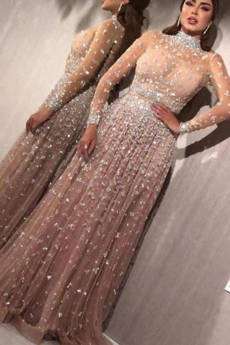 crystal prom dresses, long sleeve prom dresses, beaded evening dresses, fashion party dresses, vestidos de fiesta, prom dresses	, платье на выпускной, vestidos de gala, prom dresses 2019, vestidos de fiesta de noche largos elegantes