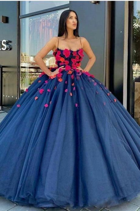 ball gown prom dresses, 2020 evening dresses, flowers prom dresses, navy blue prom dresses, puffy evening dresses, hand made flowers prom dresses, vestidos de fiesta de noche largos elegantes, платье выпускной