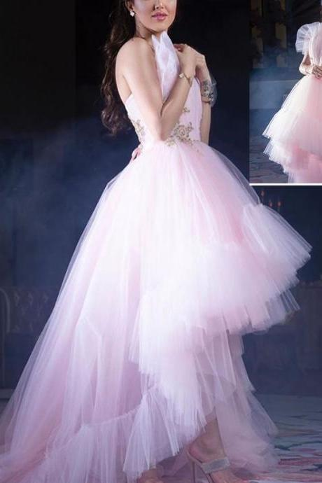 high front and low back prom dresses, tulle prom dresses, pink prom dresses, lace prom dresses, pleats prom dresses, ruffle prom dresses, ball gown prom dresses, arabic prom dresses, sexy prom dresses