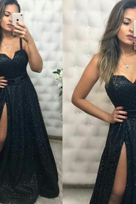 black prom dresses, sequins prom dresses, side slit prom dresses, sexy prom dresses, sparkly prom dresses, evening dresses with slit, fashion prom dresses, shinning prom dresses, arabic prom dresses