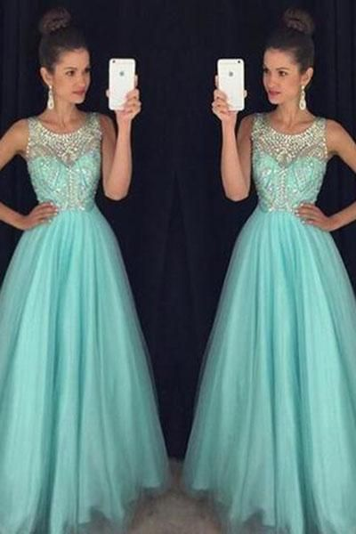 crystal prom dresses, beaded evening dresses, tulle prom dresses, a line prom dresses, beading evening gowns, blue prom dresses, elegant evening dresses, tulle evening dress, crystal formal dresses, платье на выпускной,vestidos de gala,prom dresses 2019,платья на выпускной, elegant party dress